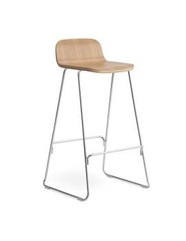 Normann Copenhagen Just Barstool w. Back 75 cm Oak chrome