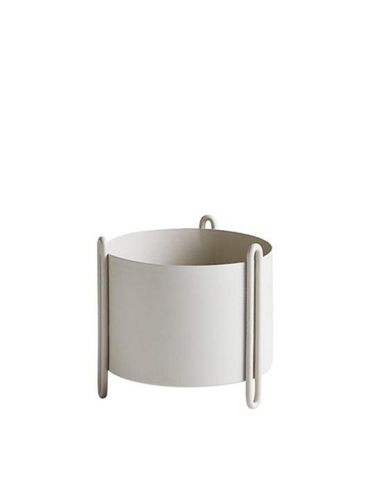 Woud pidestall flowerpot small grey