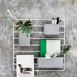 String Grid for wall with organizers grey