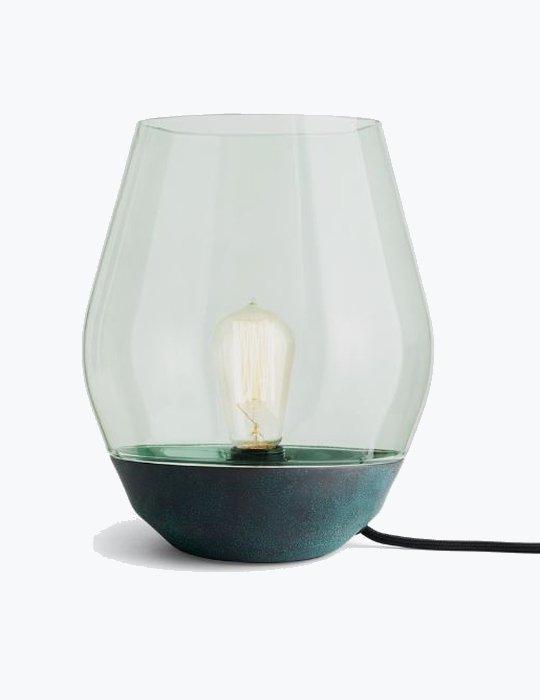 bowl lamp verdigris copper light green glass